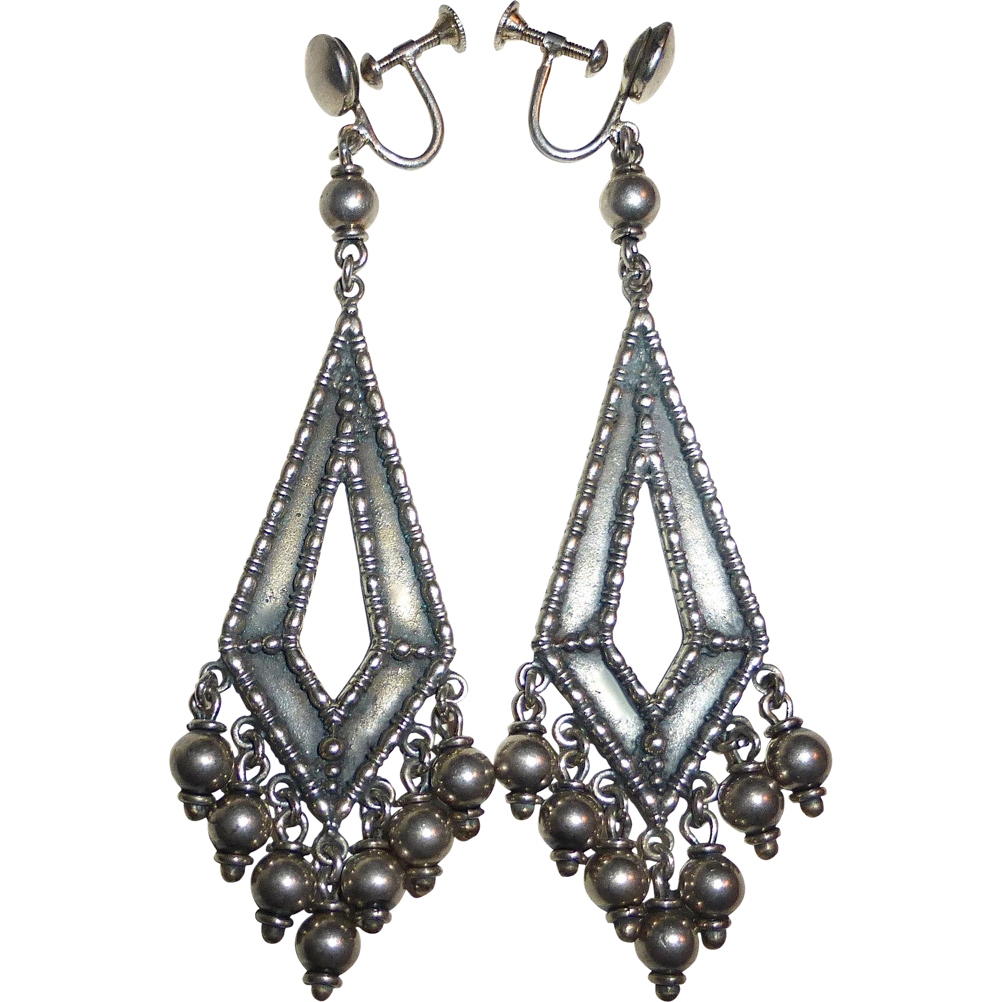 Early Cini Sterling Long Drop Earrings w Dangles