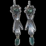 Mexican Sterling & Tourmaline Earrings Friendship Hands Flowers