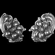 Viking Craft Sterling Exotic Flower Earrings