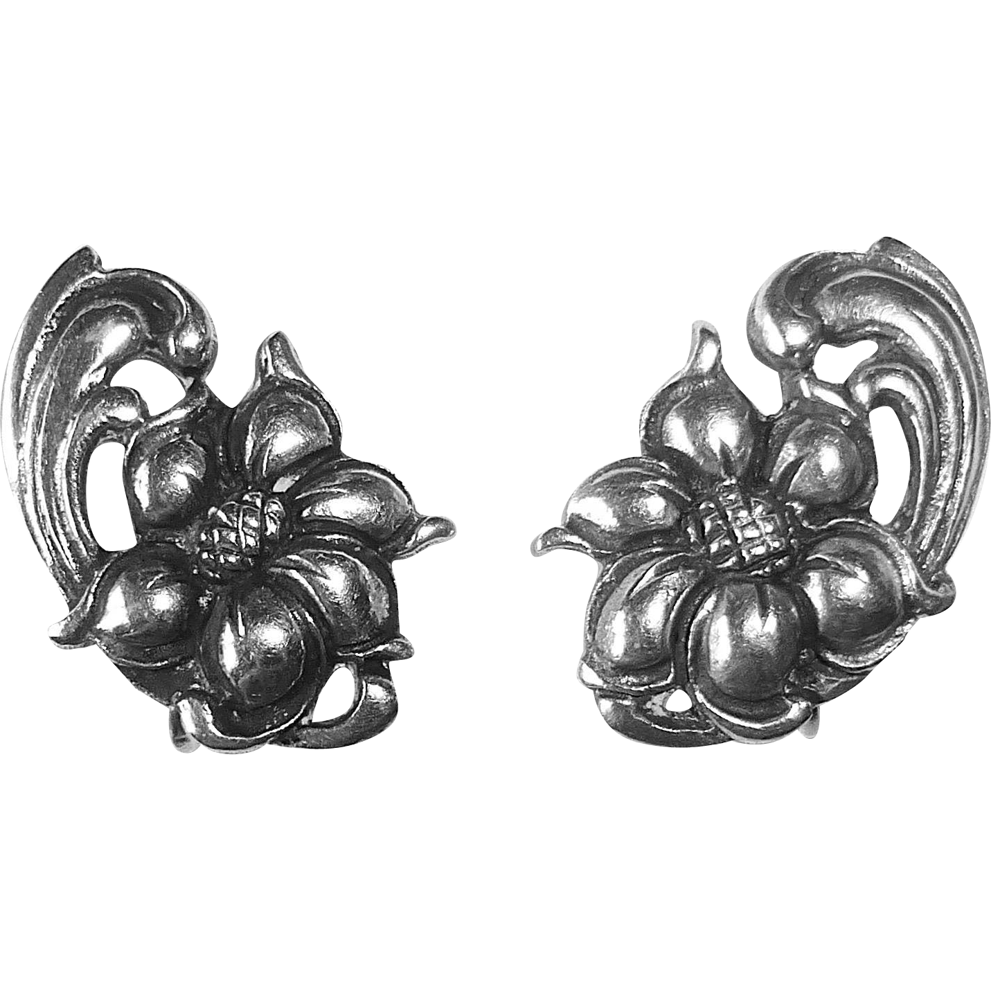 Viking Craft Sterling Exotic Flower Earrings