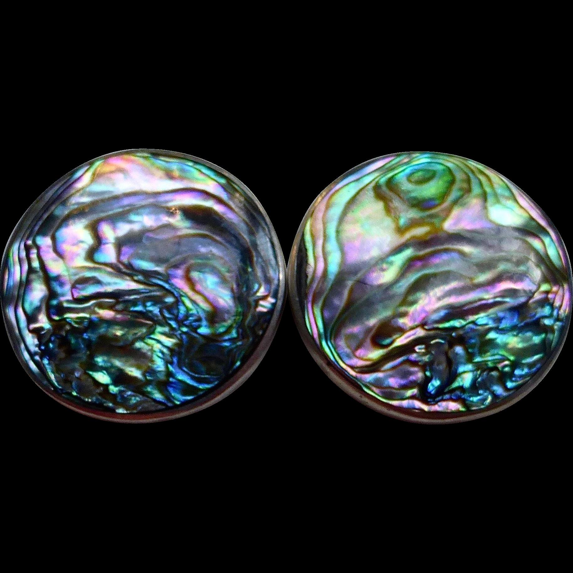 Sterling & Abalone Pierced Post Earrings