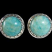 Sterling & Amazonite Cabochon Earrings