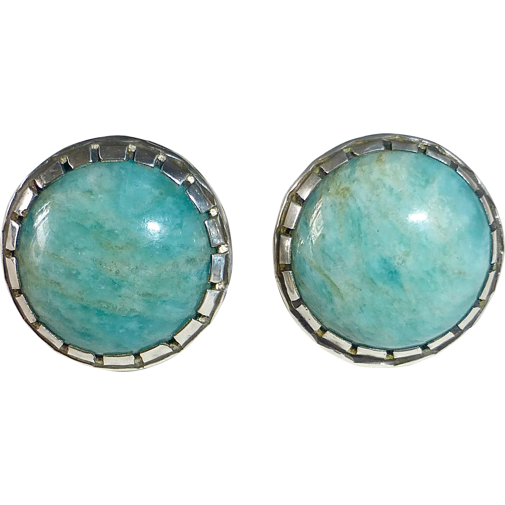 Sterling & Amazonite Cabochon Earrings