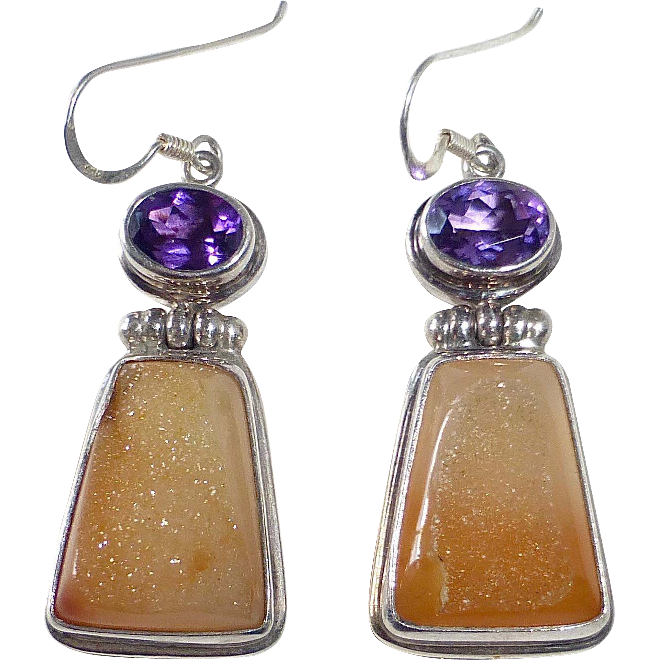 Handcrafted Sterling Earrings Amethyst & Drusy Quartz