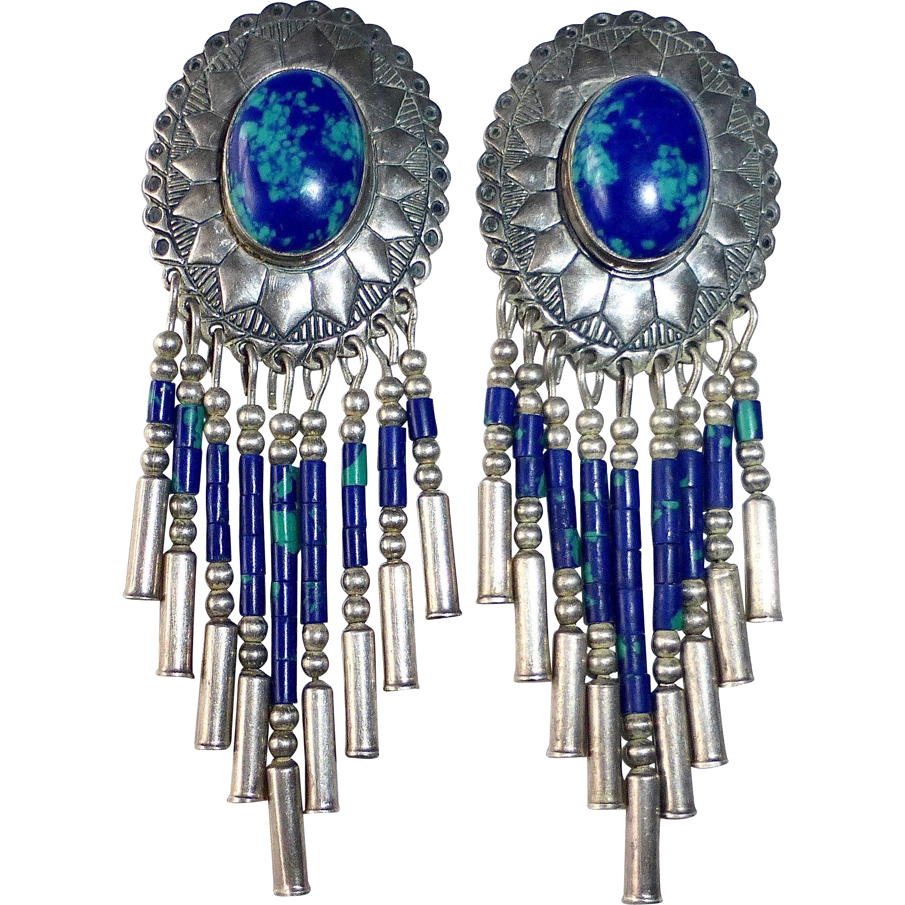 Native American Southwest Sterling Azure-Malachite Drop Earrings