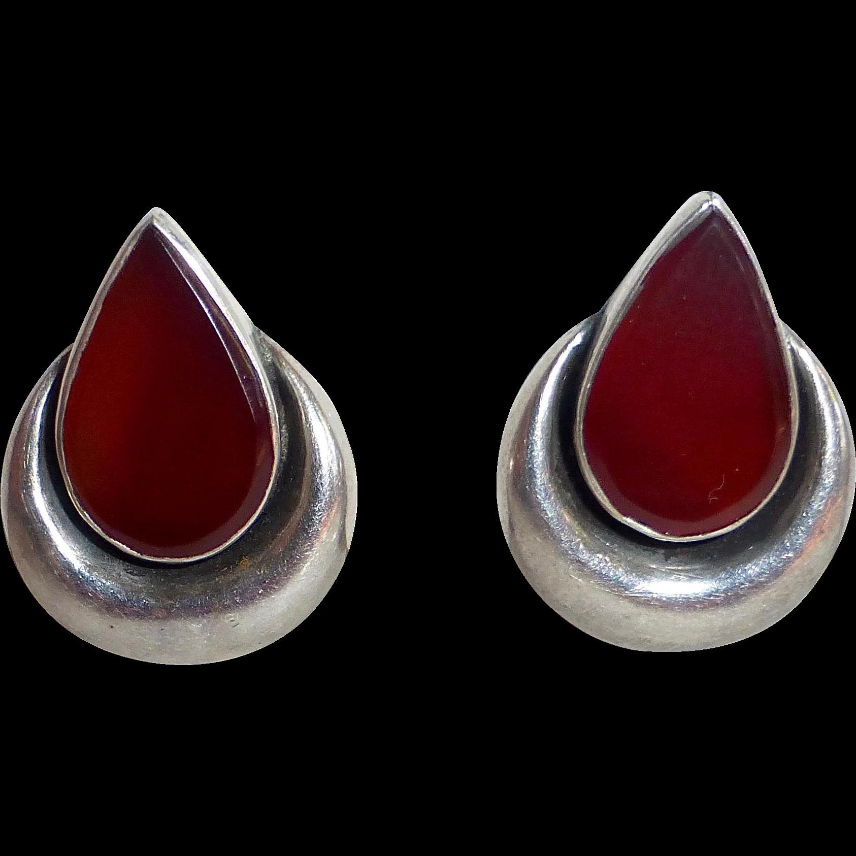 Sterling & Teardrop Carnelian & Puffy Crescent Clip Earrings