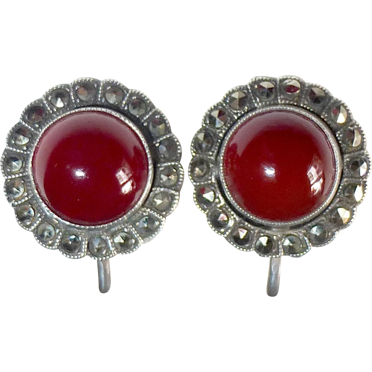 Art Deco Sterling Silver Marcasite Carnelian Cabochon Earrings