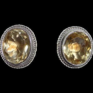 Sterling Silver Faceted Citrine Pierced Earrings