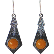 Sterling & Natural Amber Pierced Earrings