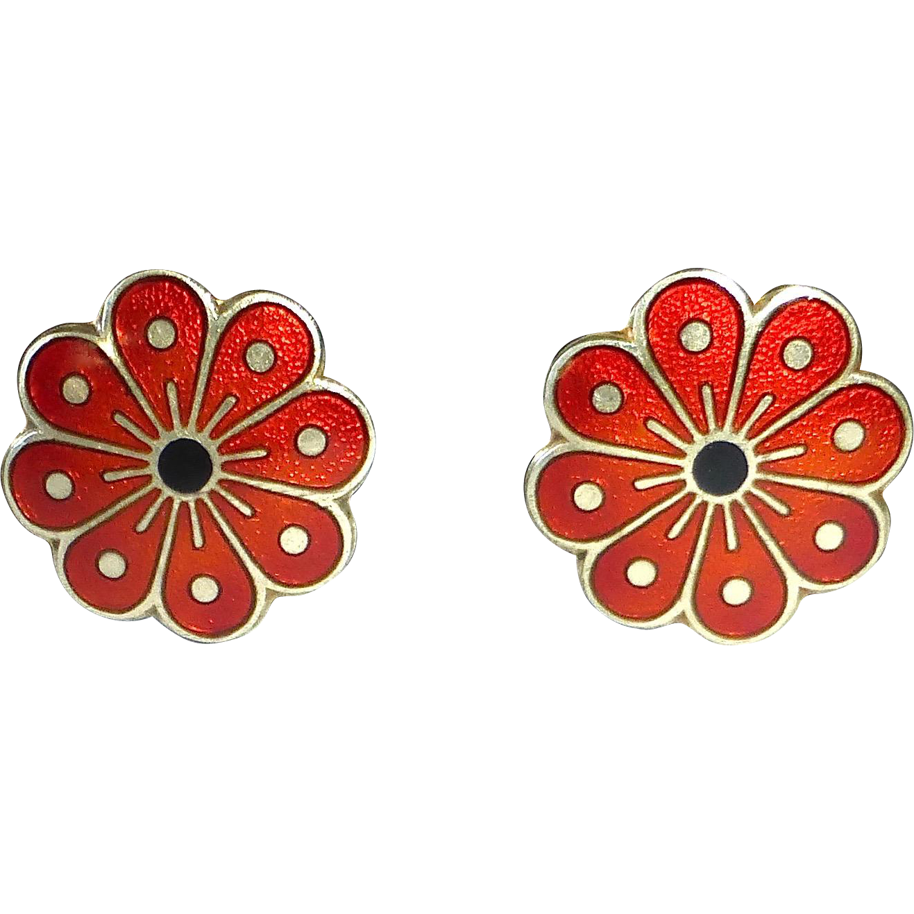 David Andersen Norway Sterling & Enamel Vermeil Flower Earrings