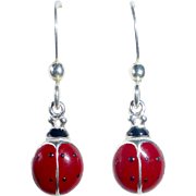 Sterling & Enamel Ladybug Pierced Earrings Vintage Store Stock