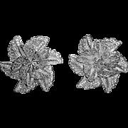 Fine Sterling Filigree Ornate Exotic Flower Earrings