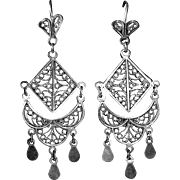 Sterling Silver Intricate Filigree Exotic Ethnic Pierced Drop Earrings