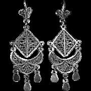 Sterling Silver Intricate Filigree Exotic Ethnic Pierced Drop Earrings