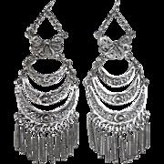 Filigree Long Tiered Silver Plate Chandelier Drop Earrings