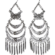 Filigree Long Tiered Silver Plate Chandelier Drop Earrings