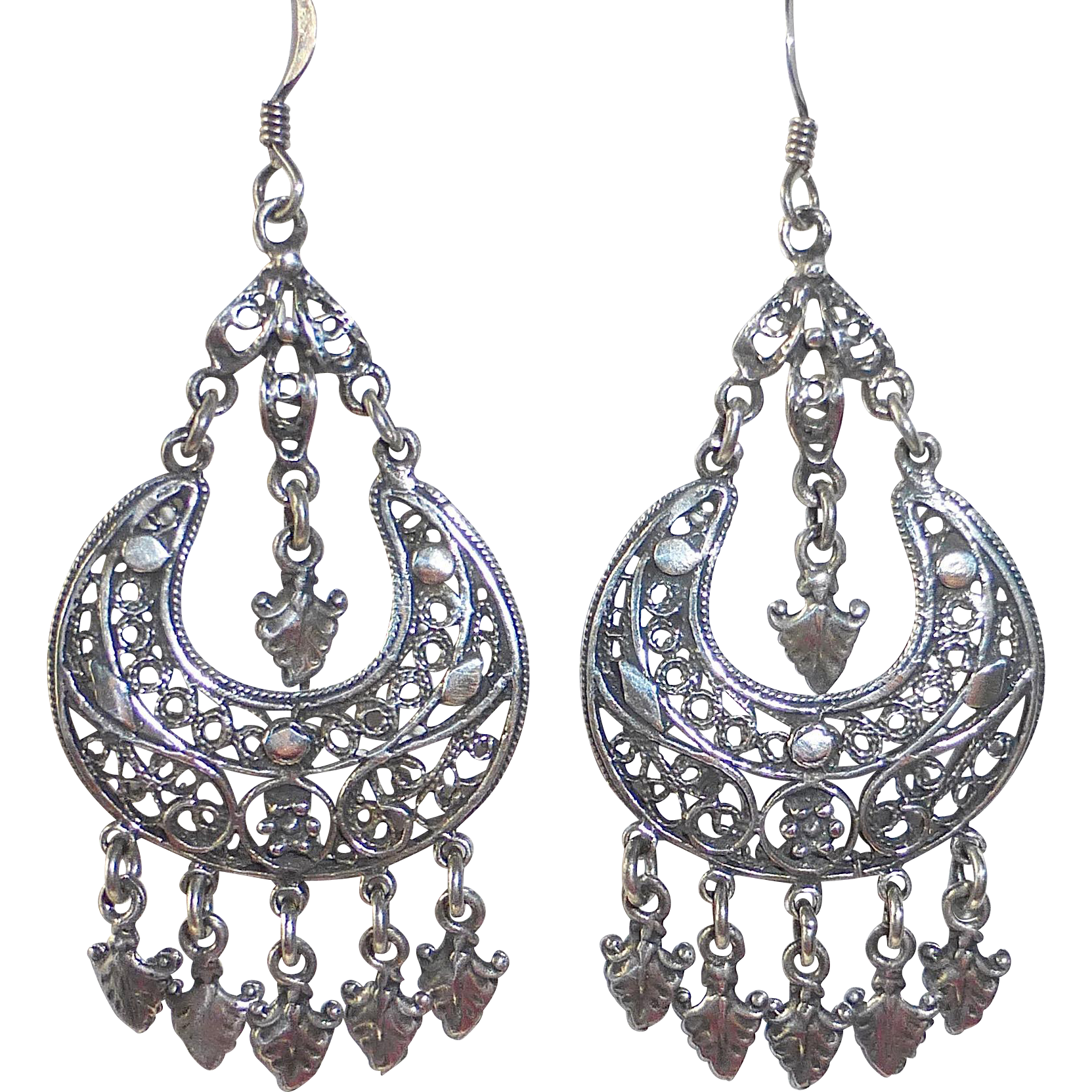 Sterling Filigree Crescent Pierced Earrings w Dangles