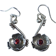 Sterling Floral Drop Pierced Earrings w Garnets
