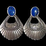Sterling & Lapis Large Pendant Pierced Earrings