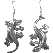 Sterling Silver Gecko Lizard Pierced Earrings
