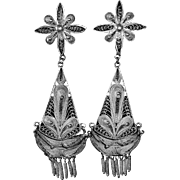 Sterling Silver Intricate Filigree Exotic Chandelier Pierced Earrings