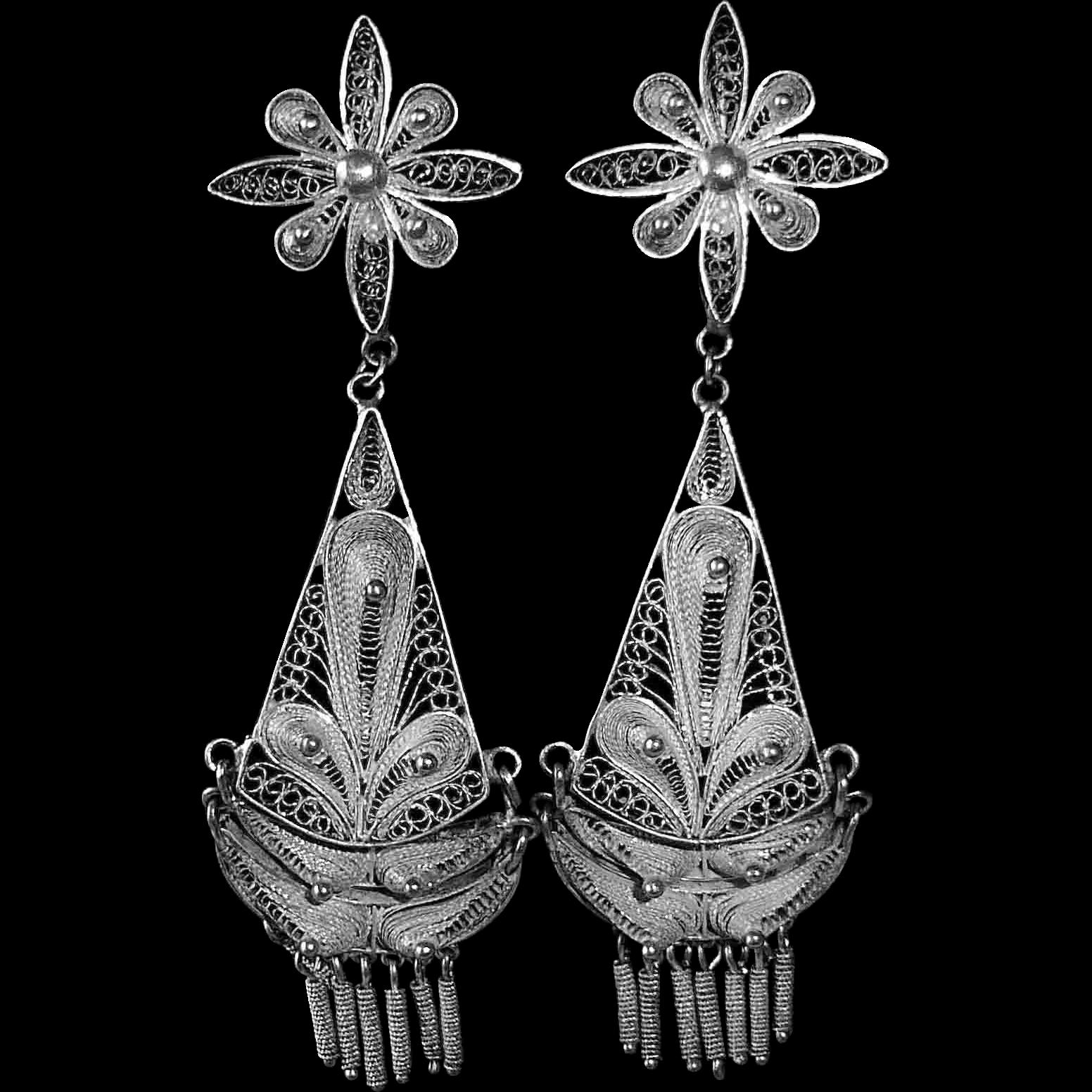 Sterling Silver Intricate Filigree Exotic Chandelier Pierced Earrings