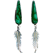 Sterling & Malachite Long Feather Drop Earrings