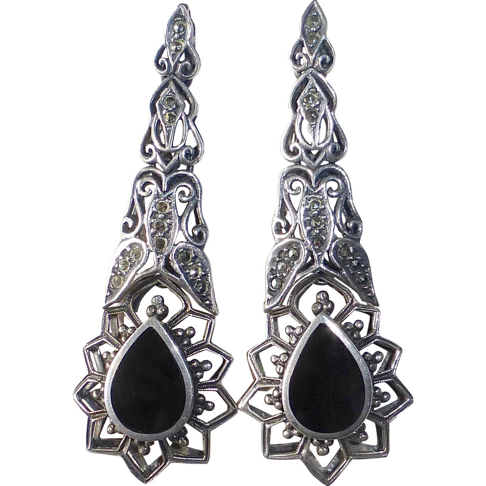 Sterling Marcasite Onyx Long Pendant Pierced Earrings
