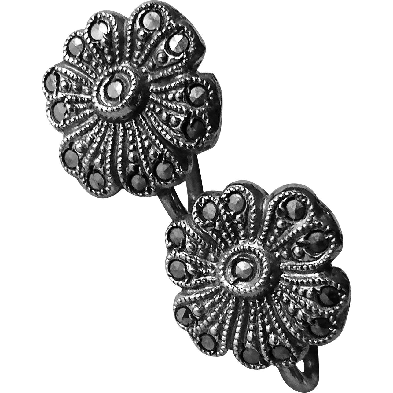Sterling & Marcasite Screw Back Flower Earrings