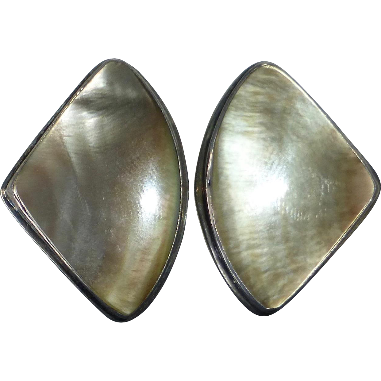Sterling & Gray Mother of Pearl Clip Earrings