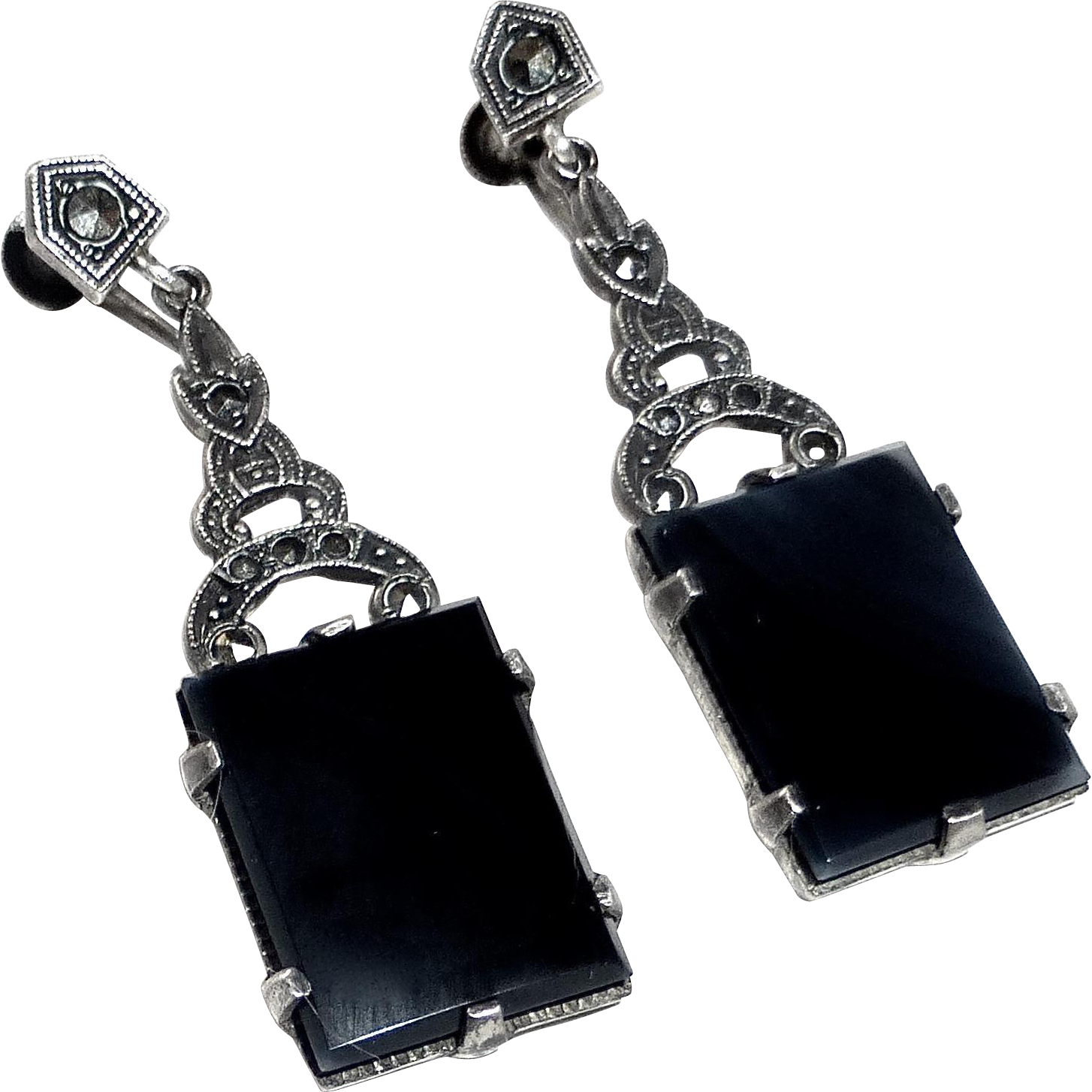 Art Deco Sterling Onyx Marcasite Long Drop Earrings