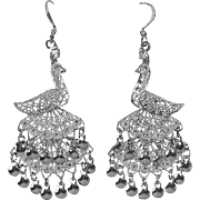 Sterling Filigree Exotic Bird Peacock Earrings Triple Tiered Tail
