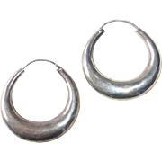 Handcrafted Sterling Graduated Puffy Hoop Pierced Earrings