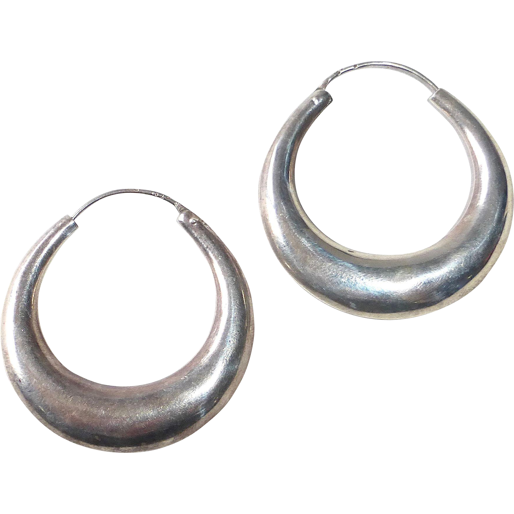 Handcrafted Sterling Graduated Puffy Hoop Pierced Earrings