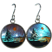 Sterling & Reverse Painted Butterfly Wing Pierced Earrings