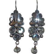 Mexican Sterling Pierced Drop Earrings Leaf & Spectrolite Berries