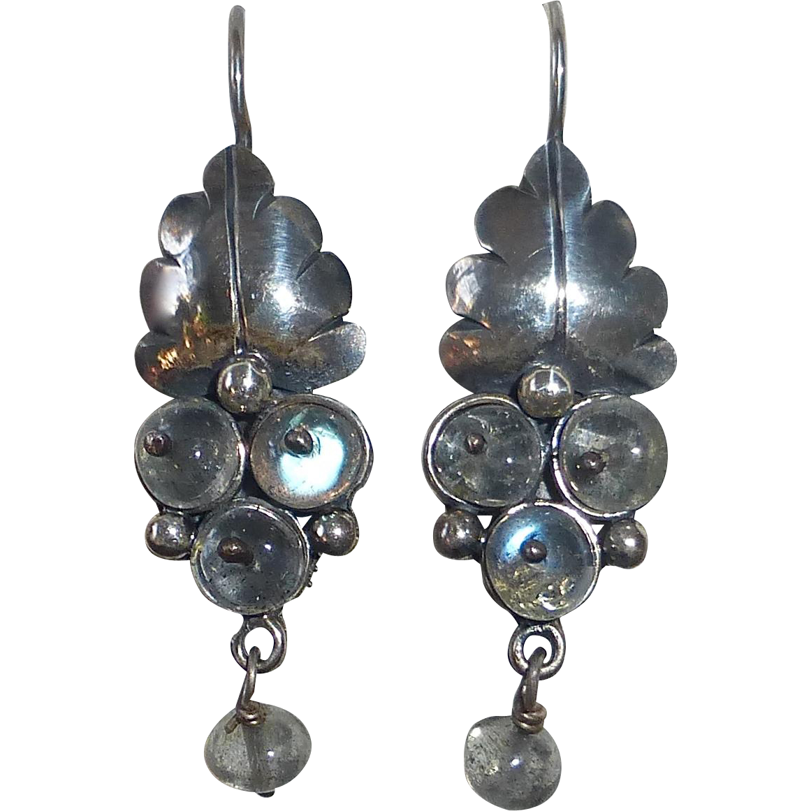 Mexican Sterling Pierced Drop Earrings Leaf & Spectrolite Berries