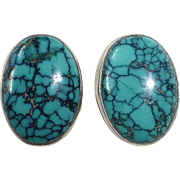 Sterling Silver Spider Web Turquoise Cabochon Pierced Earrings