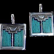 Sterling Turquoise Glass Beaded Earrings