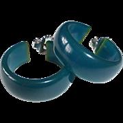 Teal Bakelite Hoop Pierced Earrings ~ Vintage Storestock