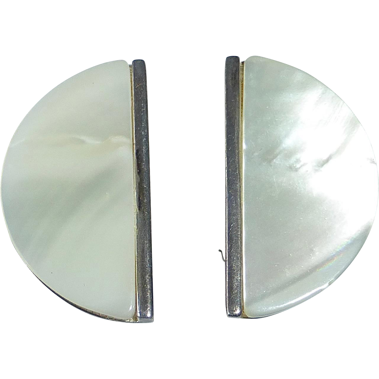 Sterling & Mother of Pearl Clip Earrings