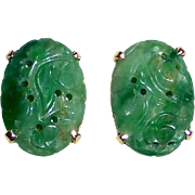 14k YG Carved Jade Pierced Earrings