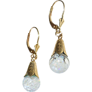 Floating Opals Teardrop Earrings GF Caps 14k Ear Wires