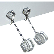 Art Deco Sterling & Crystal Drop Screwback Earrings