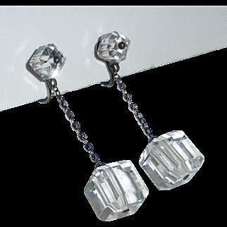 Art Deco Sterling & Crystal Drop Screwback Earrings