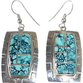 Native American Marie Tsosie Navajo Sterling Turquoise Earrings