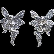 Sterling Silver Art Nouveau Revival Winged Nude Fairy Post Earrings