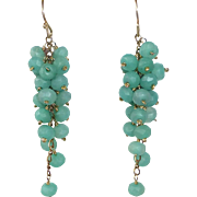 Gold Filled Chrysoprase 'Grapes' Long Drop Pierced Earrings