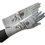 French Embroidered & Faux Pearl Denise Francelle Long White Gloves Mint in Bag