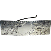 Engraved Sterling Hair Clip